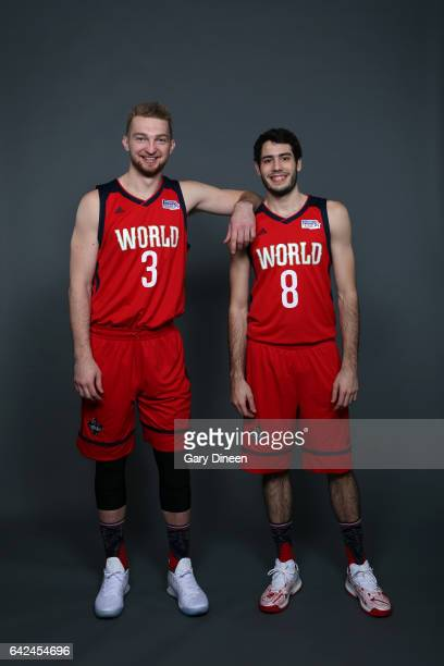 Domantas Sabonis and Alex Abrines of the World Team pose for a portrait prior to the BBVA Compass Rising Stars Challenge on February 17 2017 at...