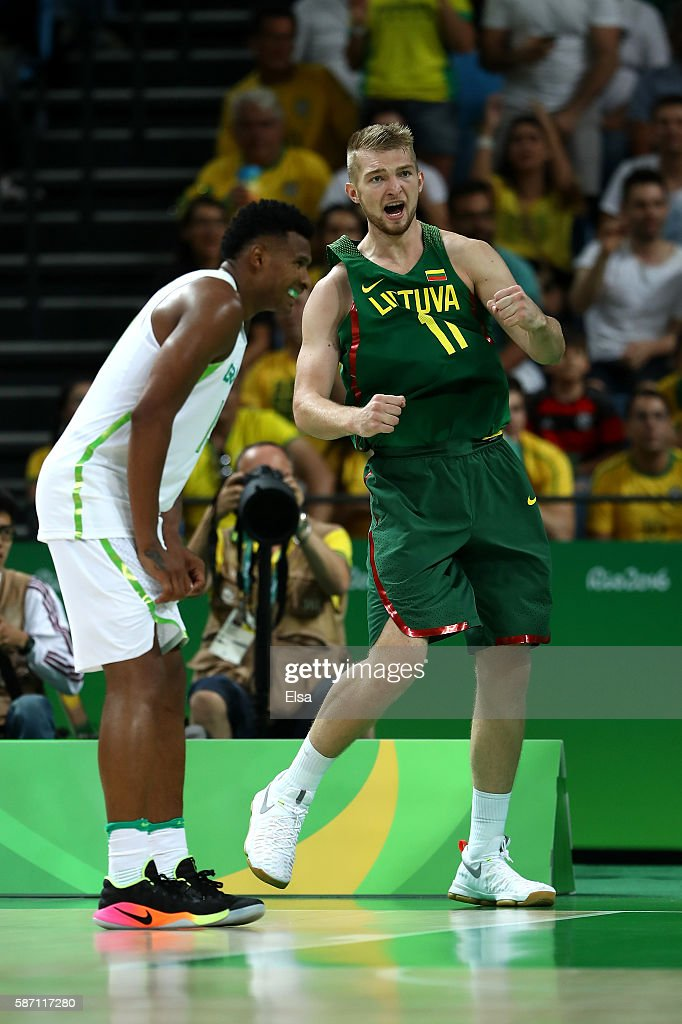 Domantas Sabonis of Lithuania reacts during a Men's preliminary round basketball game between Brazil and Lithuania on Day 2 of the Rio 2016 Olympic Games at Carioca Arena 1 on August 7, 2016 in Rio de Janeiro, Brazil.