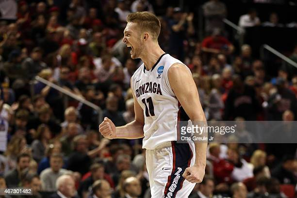 Domantas Sabonis of the Gonzaga Bulldogs celebrates against the Iowa Hawkeyes in the second half of the game during the third round of the 2015 NCAA...