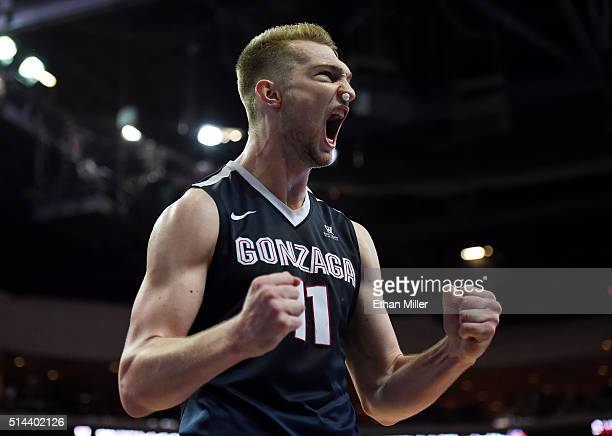Domantas Sabonis of the Gonzaga Bulldogs celebrates on the court late in the championship game of the West Coast Conference Basketball tournament...