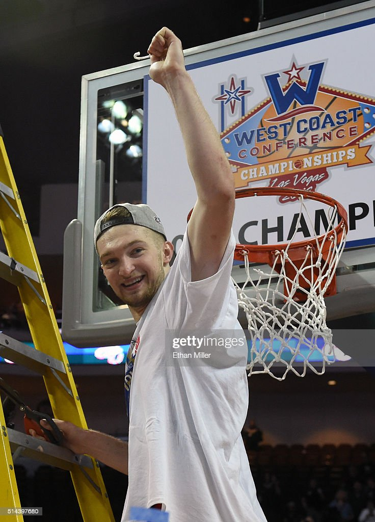 Domantas Sabonis #11 of the Gonzaga Bulldogs cuts a piece of a net after defeating the Saint Mary's Gaels 85-75 to win the championship game of the West Coast Conference Basketball tournament at the Orleans Arena on March 8, 2016 in Las Vegas, Nevada.