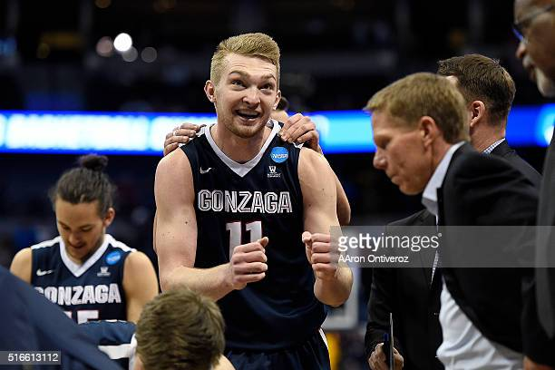 Domantas Sabonis of the Gonzaga Bulldogs dances in a huddle in the waning minutes against the Utah Utes during the second half of Gonzaga's 8259...