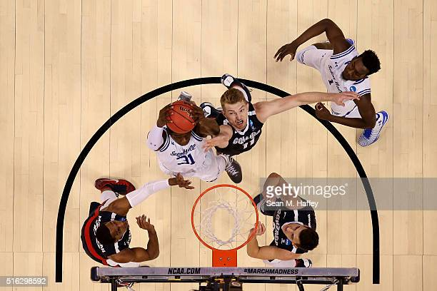 Domantas Sabonis of the Gonzaga Bulldogs defends against Angel Delgado of the Seton Hall Pirates during the first round of the 2016 NCAA Men's...