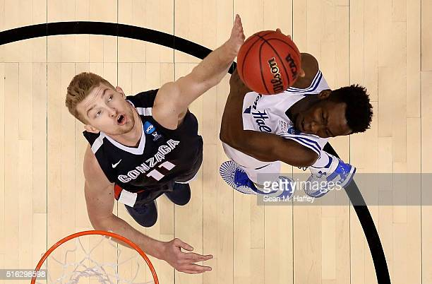 Domantas Sabonis of the Gonzaga Bulldogs defends against Michael Nzei of the Seton Hall Pirates during the first round of the 2016 NCAA Men's...