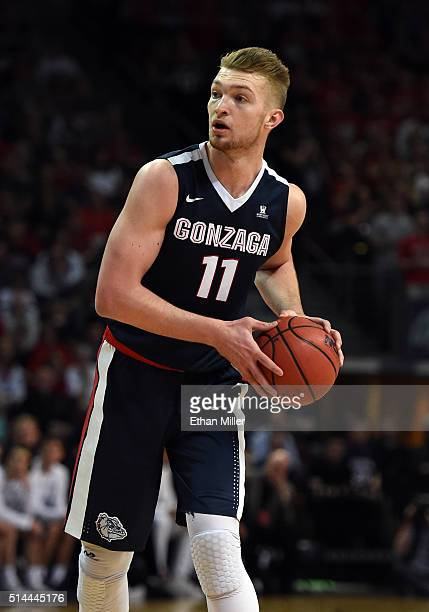 Domantas Sabonis of the Gonzaga Bulldogs looks to pass against the Saint Mary's Gaels during the championship game of the West Coast Conference...