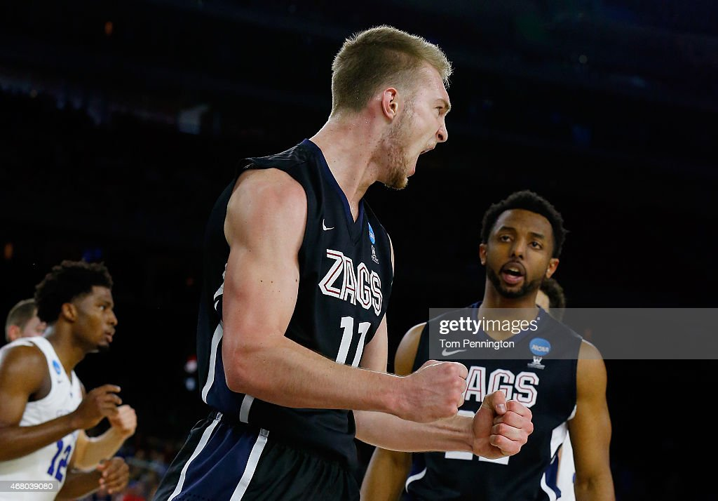 Domantas Sabonis #11 of the Gonzaga Bulldogs reacts in the first half against the Duke Blue Devils during the South Regional Final of the 2015 NCAA Men's Basketball Tournament at NRG Stadium on March 29, 2015 in Houston, Texas.