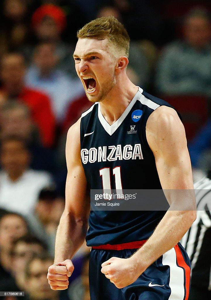 Domantas Sabonis #11 of the Gonzaga Bulldogs reacts in the second half against the Syracuse Orange during the 2016 NCAA Men's Basketball Tournament Midwest Regional at United Center on March 25, 2016 in Chicago, Illinois.