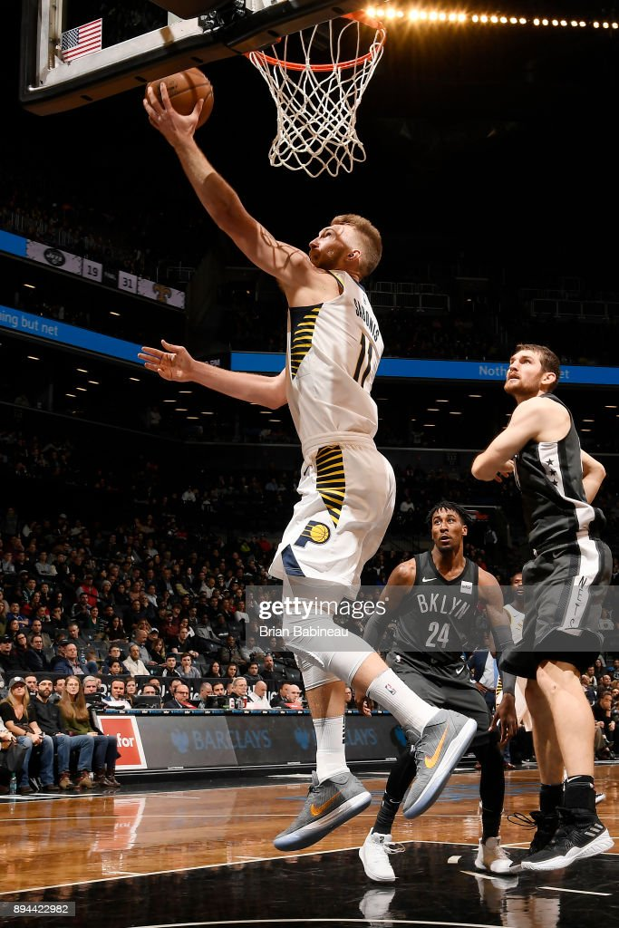 Domantas Sabonis #11 of the Indiana Pacers drives to the basket against the Brooklyn Nets on December 17, 2017 at Barclays Center in Brooklyn, New York.