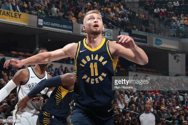 Domantas Sabonis of the Indiana Pacers looks on during the season game against the Brooklyn Nets on October 18 2017 at Bankers Life Fieldhouse in...