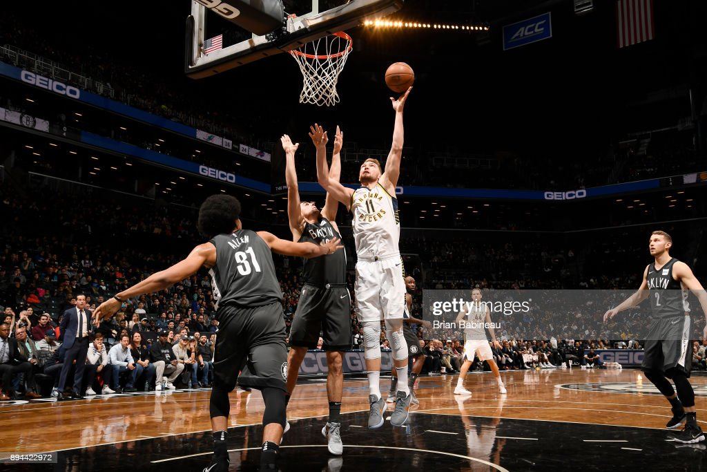 Domantas Sabonis #11 of the Indiana Pacers shoots the ball against the Brooklyn Nets on December 17, 2017 at Barclays Center in Brooklyn, New York.
