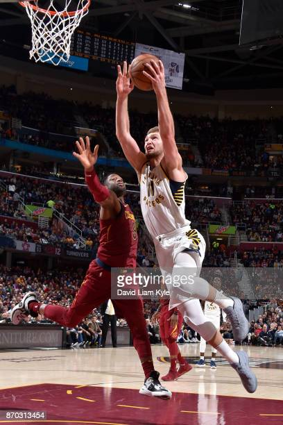 Domantas Sabonis of the Indiana Pacers shoots the ball during the game against the Cleveland Cavaliers on November 1 2017 at Quicken Loans Arena in...