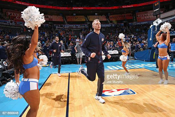 Domantas Sabonis of the Oklahoma City Thunder enters the arena before the game against the Phoenix Suns on October 28 2016 at the Chesapeake Energy...
