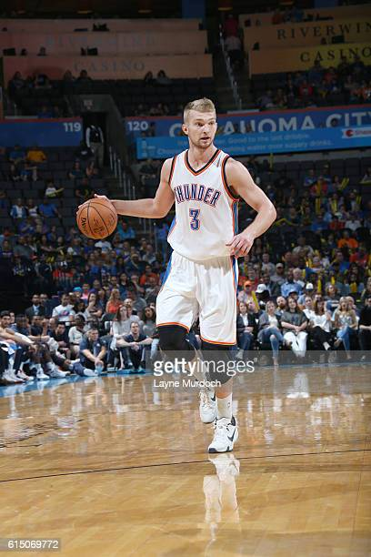 Domantas Sabonis of the Oklahoma City Thunder handles the ball against the Minnesota Timberwolves on October 16 2016 at Chesapeake Energy Arena in...