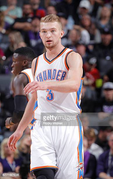 Domantas Sabonis of the Oklahoma City Thunder looks on during the game against the Sacramento Kings on November 23 2016 at Golden 1 Center in...