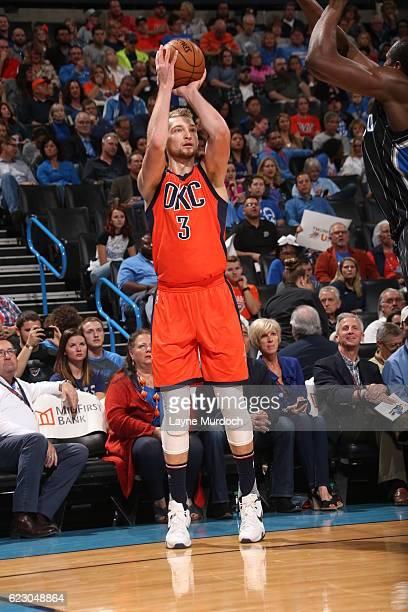 Domantas Sabonis of the Oklahoma City Thunder shoots the ball during a game against the Orlando Magic on November 13 2016 at Chesapeake Energy Arena...