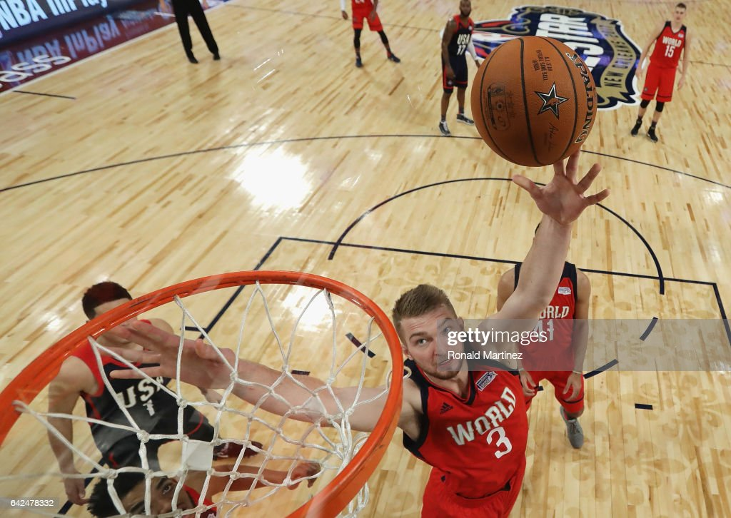 Domantas Sabonis #3 of the Oklahoma City Thunder shoots the ball in the second half against the US Team during the 2017 BBVA Compass Rising Stars Challenge at Smoothie King Center on February 17, 2017 in New Orleans, Louisiana.