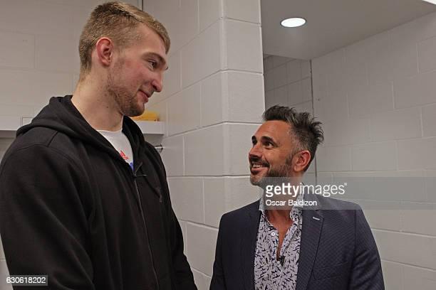 Domantas Sabonis of the Oklahoma City Thunder talks to Leonardo Montero an Argentine TV host before the game against the Miami Heat on December 27...
