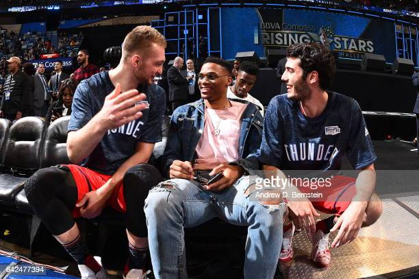 Domantas Sabonis of the World Team and teammate Russell Westbrook of the Oklahoma City Thunder and Alex Abrines of the World Team during the BBVA...