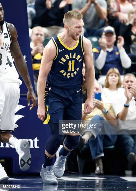 Domantus Sabonis of the Indiana Pacers celebrates after making a basket against the Brooklyn Nets at Bankers Life Fieldhouse on October 18 2017 in...