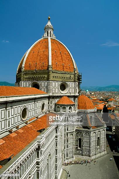 Dome and upper portion of Santa Maria del Fiore cathedral in Tuscany, Florence, Italy