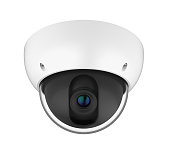 Dome CCTV Security Camera isolated on white background. 3D render