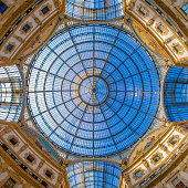Dome in the center of Galleria Vittorio Emanuele II, Milan, Lombardy, Italy, southern Europe, shopping mall, travelling landmark, architecture detail
