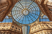 Awesome dome of gallery Vittorio Emmanuele in Milan, Italy