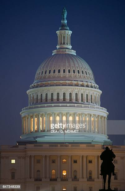 Dome of the Capitol at night seat of the United States Congress Washington DC District of Columbia United States of America 19th century