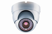 Dome security camera, 3D rendering isolated on white background