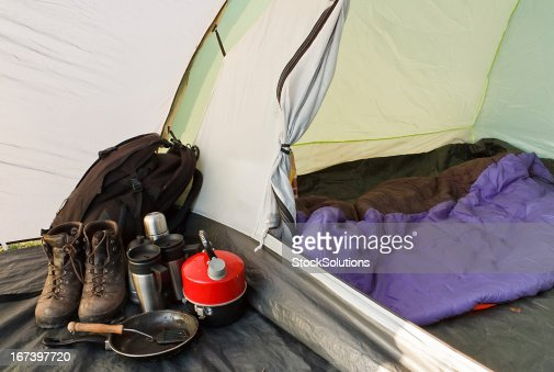 Tenda igloo campeggio interno : Foto stock