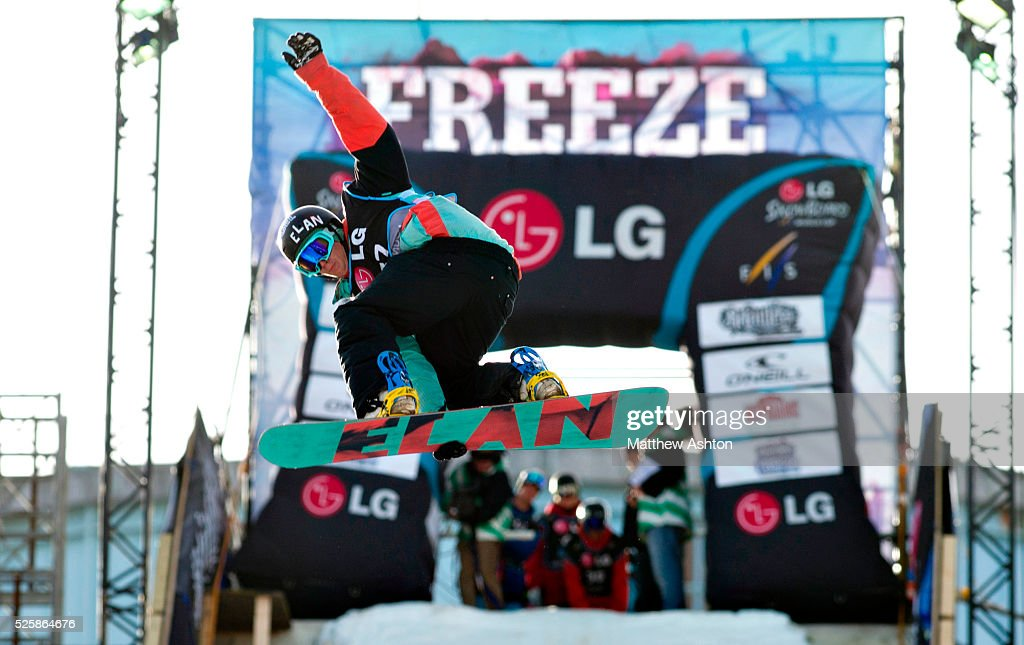 Domen Bizjak from Slovenia competing in the LG Snowboard International Ski Federation in London