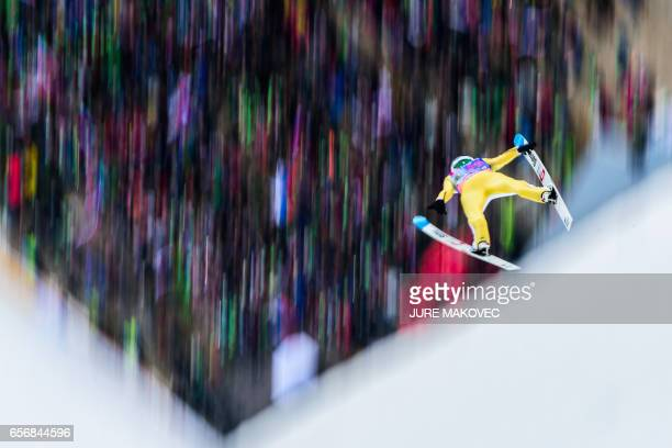 TOPSHOT Domen Prevc od Slovenia competes during the FIS Ski Jumping World Cup Flying Hill Individual training session in Planica Slovenia on March 23...