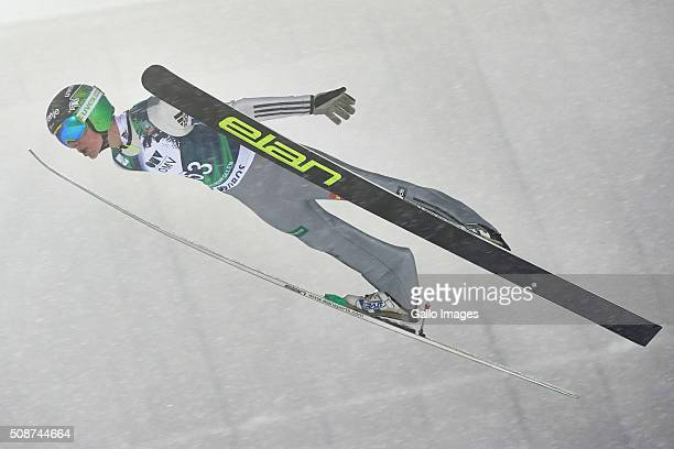 Domen Prevc of Slovenia competes during the FIS Ski Jumping World Cup Men's HS134 Qualification on February 5 2016 in Oslo Norway FIS is the...