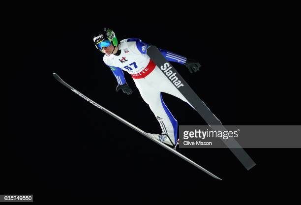 Domen Prevc of Slovenia in action jumping during training at the 2017 FIS Ski Jumping World Cup test event for PyeongChang 2018 at Alpensia Ski...