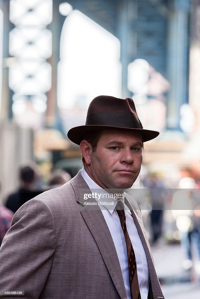 Domenick Lombardozzi is seen on location in Dumbo filming Cold War thriller 'St. James Place' on September 14, 2014 in Brooklyn borough of New York City.