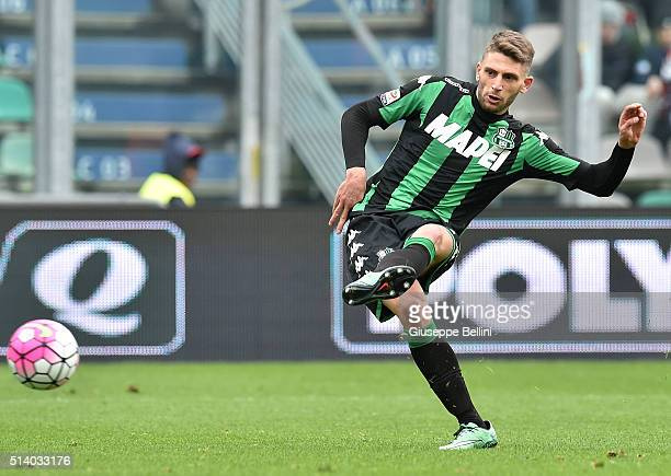 Domenico Berardi 0f US Sassuolo Calcio in action during the Serie A match between US Sassuolo Calcio and AC Milan at Mapei Stadium Città del...