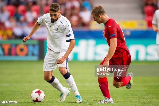 Domenico Berardi of Italy and Michal Hubinek of Czech during the UEFA European Under21 Championship 2017 Group C between Czech Republic and Italy at...