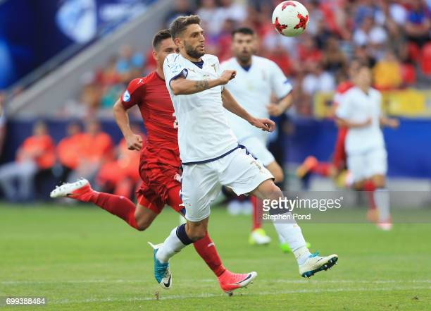 Domenico Berardi of Italy breaks through to score his sides first goal during the UEFA European Under21 Championship Group C match between Czech...