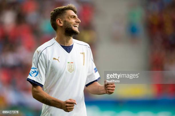 Domenico Berardi of Italy celebrates after score during the UEFA European Under21 Championship 2017 Group C between Czech Republic and Italy at Tychy...