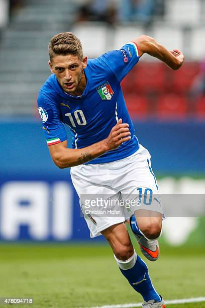 Domenico Berardi of Italy celebrates after scoring during the UEFA Under21 European Championship between Italy and Sweden at Andruv Stadium on June...