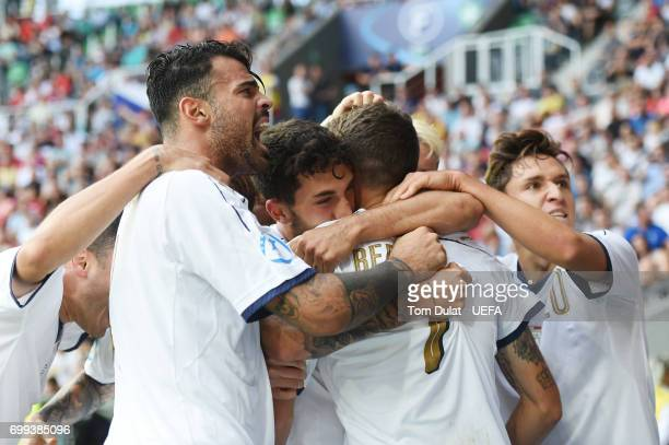 Domenico Berardi of Italy celebrates scoring his sides first goal with his Italy team mates during the UEFA European Under21 Championship Group C...