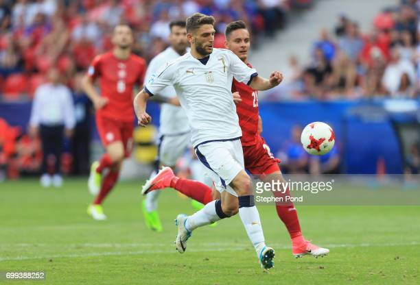 Domenico Berardi of Italy celebrates scoring his sides first goal during the UEFA European Under21 Championship Group C match between Czech Republic...