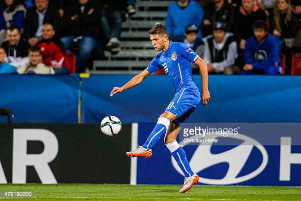 Domenico Berardi of Italy controls the ball during the UEFA Under21 European Championship 2015 match between England and Italy at Andruv Stadium on...