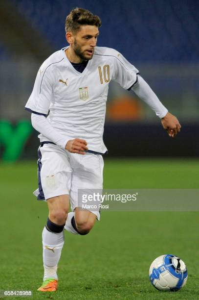 Domenico Berardi of Italy during the international friendly match between Italy U21 and Spain U21 at Olimpico Stadium on March 27 2017 in Rome Italy