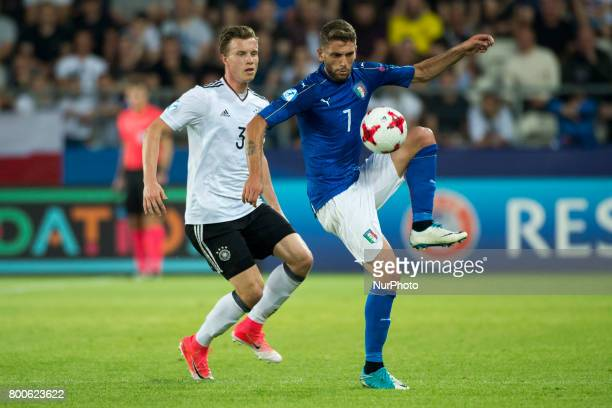 Domenico Berardi of Italy fights for the ball with Yannick Gerhardt of Germany during the UEFA European Under21 Championship 2017 Group C match...