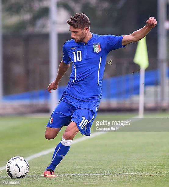 L'AQUILA ITALY SEPTEMBER 09 Domenico Berardi of Italy in action during the 2015 UEFA European U21 Championships Qualifier match between Italy U21 and...