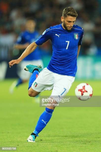 Domenico Berardi of Italy in action during the 2017 UEFA European Under21 Championship Group C match between Italy and Germany at Stadion Cracovia on...