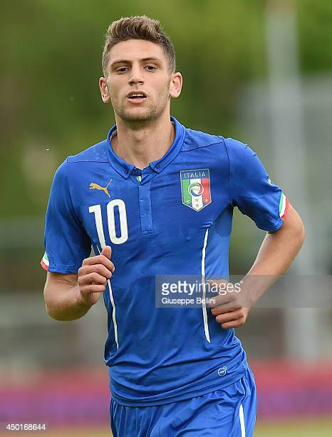 L'AQUILA ITALY JUNE 04 Domenico Berardi of Italy in action during the international friendly match between Italy U21 and Montenegro U21 on June 4...
