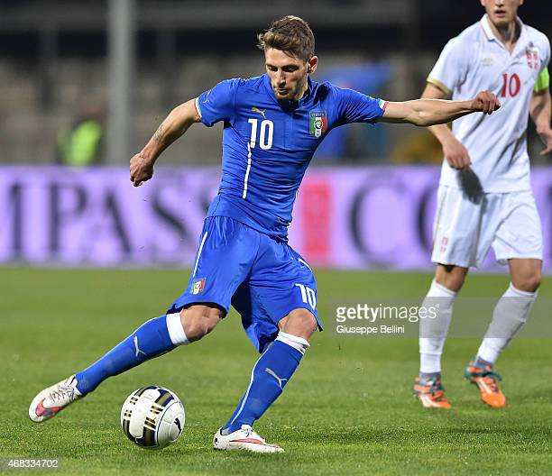Domenico Berardi of Italy in action during the international friendly match between Italy U21 and Serbia U21 at Stadio Ciro Vigorito on March 30 2015...