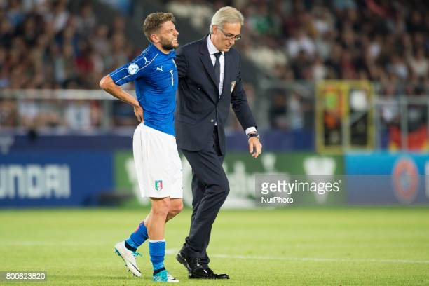 Domenico Berardi of Italy leaves the pitch injured during the UEFA European Under21 Championship 2017 Group C match between Italy and Germany at...